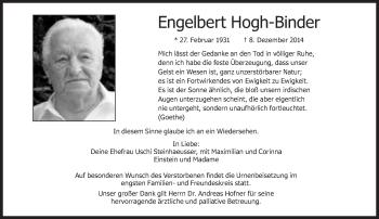 Zur Gedenkseite von Engelbert Hogh-Binder