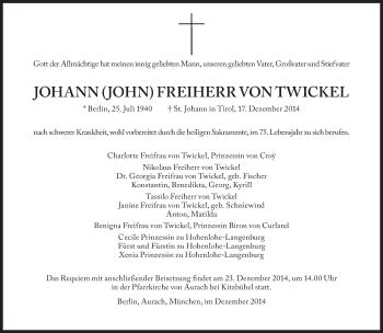Zur Gedenkseite von Johann  Freiherr von Twickel