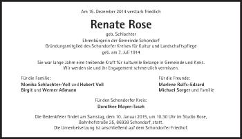 Zur Gedenkseite von Renate Rose