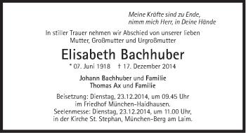 Zur Gedenkseite von Elisabeth Bachhuber