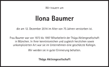 Zur Gedenkseite von Ilona Baumer