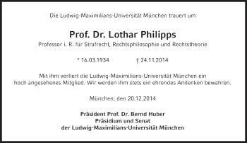 Zur Gedenkseite von Lothar Philipps