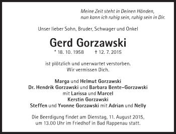 Zur Gedenkseite von Gerd Gorzawski