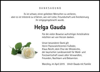 Zur Gedenkseite von Helga Gauda