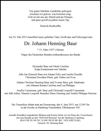 Zur Gedenkseite von Johann Henning Baur