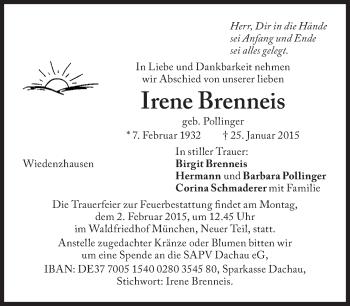 Zur Gedenkseite von Irene Brenneis