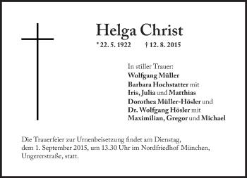 Zur Gedenkseite von Helga Christ