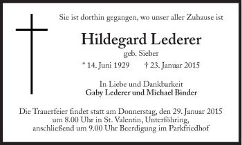 Zur Gedenkseite von Hildegard Lederer