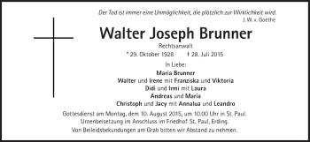 Zur Gedenkseite von Walter Joseph Brunner