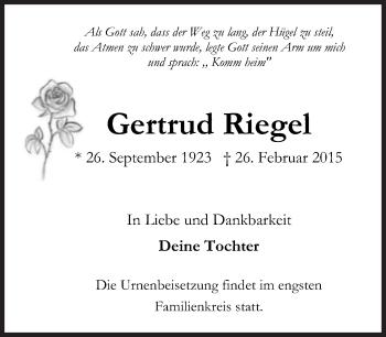 Zur Gedenkseite von Gertrud Riegel