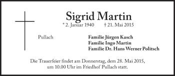 Zur Gedenkseite von Sigrid Martin