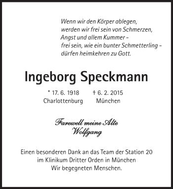 Zur Gedenkseite von Ingeborg Speckmann