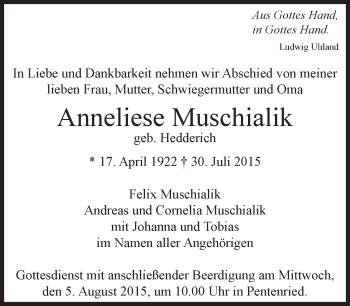 Zur Gedenkseite von Anneliese Muschialik