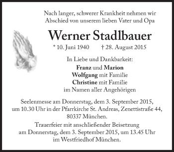 Zur Gedenkseite von Werner Stadlbauer