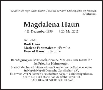 Zur Gedenkseite von Magdalena Haun