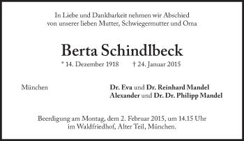 Zur Gedenkseite von Berta Schindlbeck