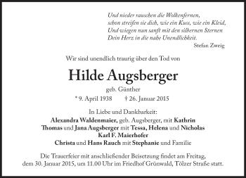 Zur Gedenkseite von Hilde Augsberger