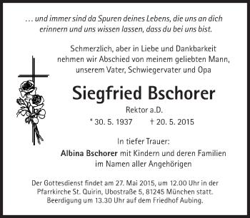 Zur Gedenkseite von Siegfried Bschorer