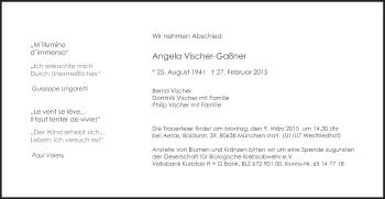 Zur Gedenkseite von Angela Vischer-Gaßner