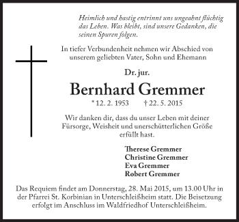 Zur Gedenkseite von Bernhard Gremmer
