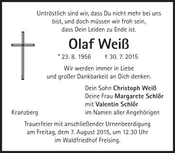 Zur Gedenkseite von Olaf Weiß
