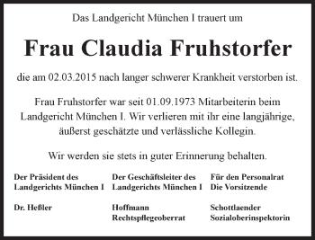 Zur Gedenkseite von Claudia Fruhstorfer
