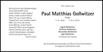 Zur Gedenkseite von Paul Matthias Gollwitzer