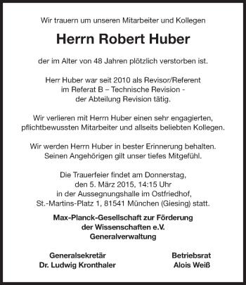 Zur Gedenkseite von Robert Huber