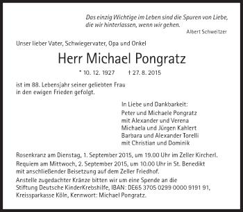 Zur Gedenkseite von Michael Pongratz