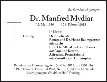 Zur Gedenkseite von Manfred Mydlar