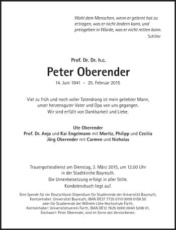 Zur Gedenkseite von Peter Oberender