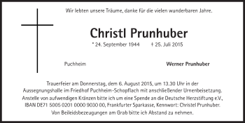 Zur Gedenkseite von Christi Prunhuber