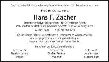 Zur Gedenkseite von Hans F. Zacher