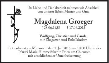 Zur Gedenkseite von Magdalena Groeger