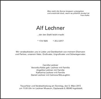 Anzeige von Alf Lechner | SZ-Gedenken.de