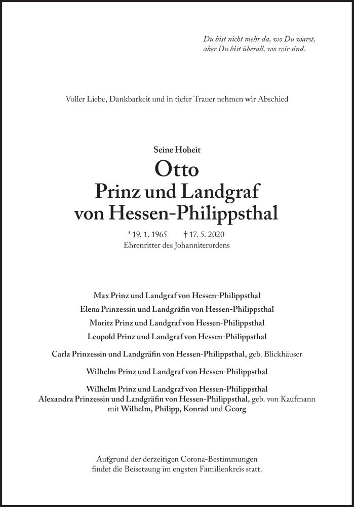 Traueranzeige Otto Prinz und Landgraf von Hessen-Philippsthal